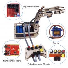 SunFounder Arduino Uno Robotic Arm Kit DIY 4-Axis Wooden Mental Servo Rollarm