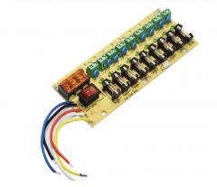 12V DC power distribution 9-way PCB board